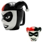 DC Comics Harley Quinn 3D Mug. Perfect for hot or cold beverages, this mug has a 10 Ounce capacity and a removable lid.