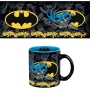 DC Comics Batman Action Mug. Mug features the Caped Crusader kicking his way through crime against a comics-inspired background and featuring Batman logos on the inside and outside. Inside printing featuring the Batman logo against a blue background.