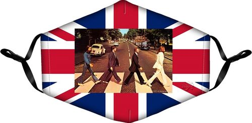 The Beatles Face Mask. Mask features the Abbey Road Cover on a Union Jack Background.