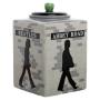The Beatles Abbey Road Sculpted Ceramic Cookie Jar. Each side of the Beatles Abbey Road Sculpted Ceramic Cookie Jar features a different Beatle.