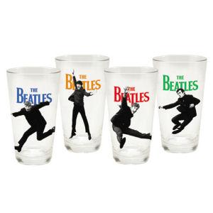 The Beatles 4 Piece 16 Ounce Glass Set