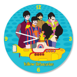 The Beatles Yellow Submarine 13.5 Inch Cordless Wood Wall Clock