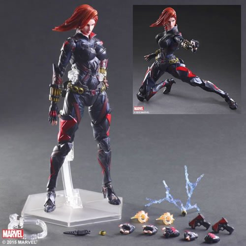 Marvel Universe Black Widow Variant Play Arts Kai Action Figure. The paintwork and the color balance are exquisite, with varying contrasts on different parts and metallic paint application, which make for great accents that add flare to her look.