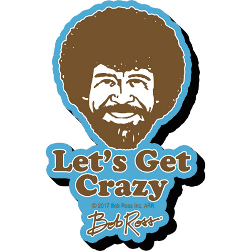 Bob Ross Crazy Funky Chunky Magnet.