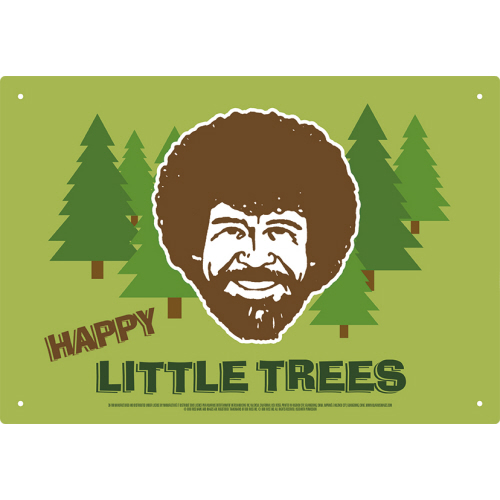 Bob Ross Happy Little Trees Tin Sign.