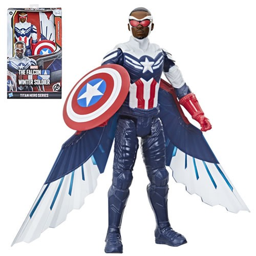 Captain America (Sam Wilson) 12 Inch Titan Hero Action Figure. This Captain America soars into battle! Figure includes iconic Captain America shield accessory as well as two wings that attach to the back.