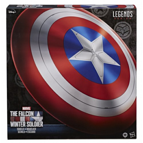 Marvel Legends Falcon and winter Soldier Captain America Shield Prop Replica. Celebrate Marvel Cinematic Universe with the 1:1 full-scale Captain America roleplay shield with detailed sculpting and premium finish that looks