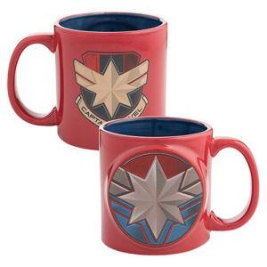 Captain Marvel Badge 20 Ounce Bas Relief Ceramic Mug