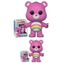 Care Bears Cheer Bear Pop! Vinyl Figure. Measures 3.75 inches tall. The stylized figure has a rotating head and comes in a displayable window box. Ages 3 and up.