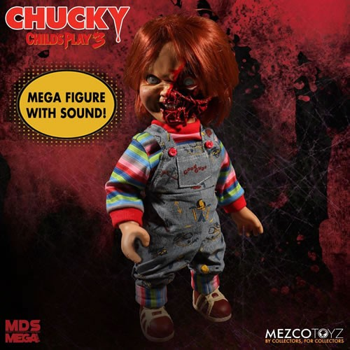 Childs Play 3 15 Inch Mega Scale Pizza Face Chucky Talking Doll.