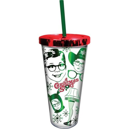 A Christmas Story Foil Cup with straw.