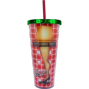 A Christmas Story Leg Lamp 20 Ounce Foil Cup with Straw