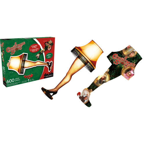 A Christmas Story Double Sided Leg Lamp Shaped Puzzle.