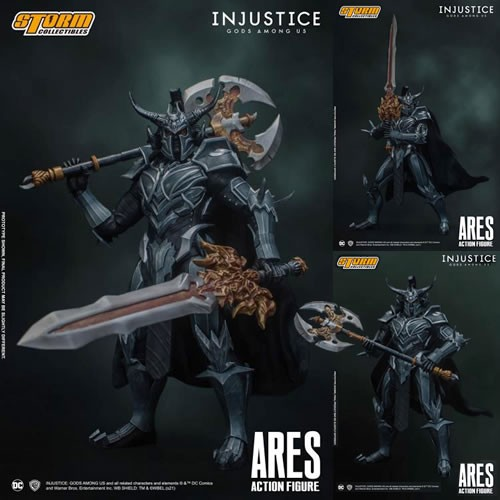 Injustice: Gods Among Us 1/10th Scale Ares Action Figure. Includes: 3 Interchanging Head Sculpts, 4 Pairs of Interchanging Hands, A Wired Fabric Cape, 1x Ares Sword, 1x Ares Axe.