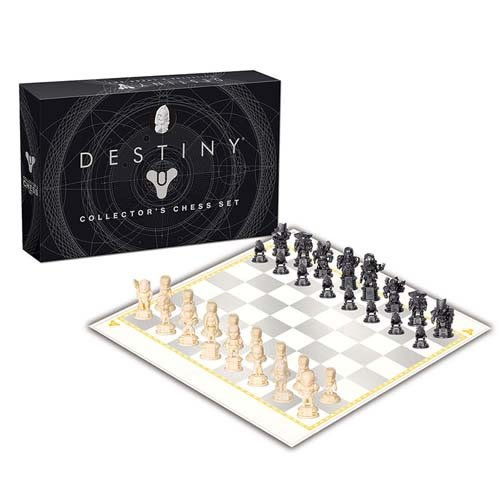 Destiny Chess Game. This set features 32 stylized Destiny figurine pieces of heroes from both Destiny and Destiny 2 ready to fight against Ghaul and the Red Legion.