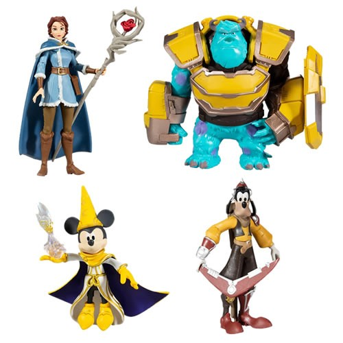 Disney Mirrorverse Figures - Wave 1 - 5 Inch Scale Action Figure Assortment.  Based on the Disney Mirrorverse mobile game. Case includes 1 X Goofy- 1 X Belle - 2x Mickey Mouse - 2 X Sully.