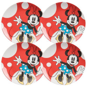 Disney Minnie Mouse 10 Inch Ceramic Plate Set of 4