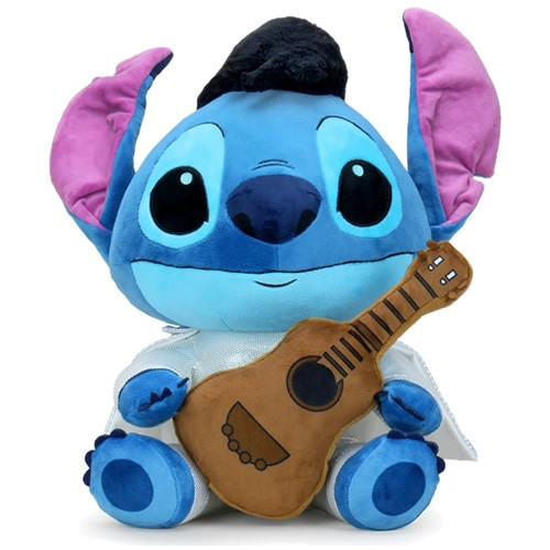 Disney Lilo and Stitch Elvis Stitch HugMe Plush. Squeeze and hug all 16 Inches of this HugMe Vibrating plushie friend! As with all HugMe plush, this comes with Kidrobots signature vibrating shake action unit with removable batteries for an additional snug