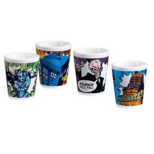 Doctor Who Comic Book Ceramic Mini-Glass 4 Pack