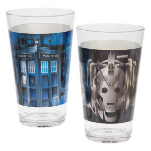 Doctor Who 16 Ounce Laser Decal Glass 2-Pack Set
