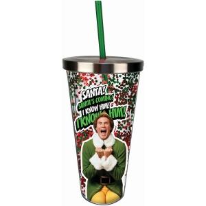 Elf Santa Glitter Cup with Straw