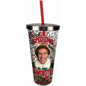 Elf Smiling is my Favorite Glitter Cup with Straw