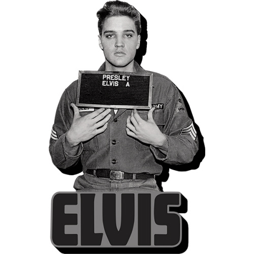 Elvis Enlistment Photo Funky Chunky Magnet.