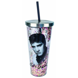 Elvis Glitter Cup with Straw