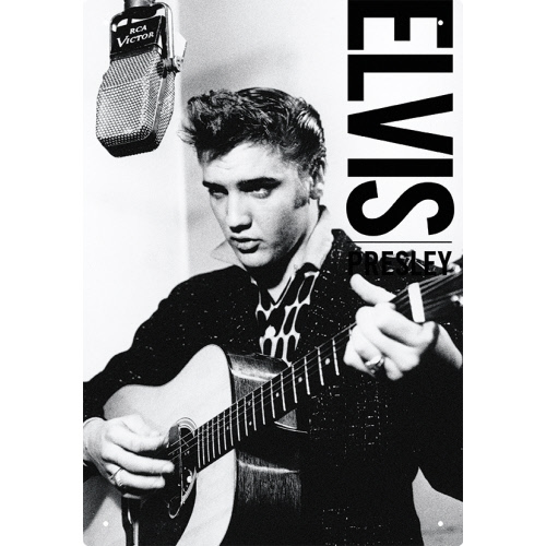 Elvis B&W Tin Sign.