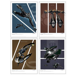 EVE Online Battlecruisers Art Print 4-Pack Set 2 Frigates