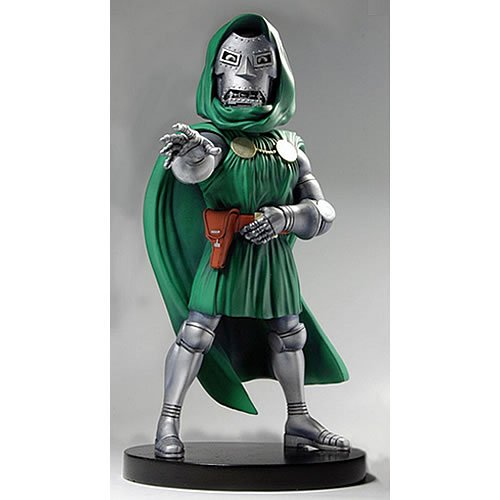 Marvel Comics Classic Doctor Doom Head Knockers XL Bobblehead. Bobblehead stands almost 9 inches tall.  A fantastic piece for old-school fans, and perfect for your desk or shelf.