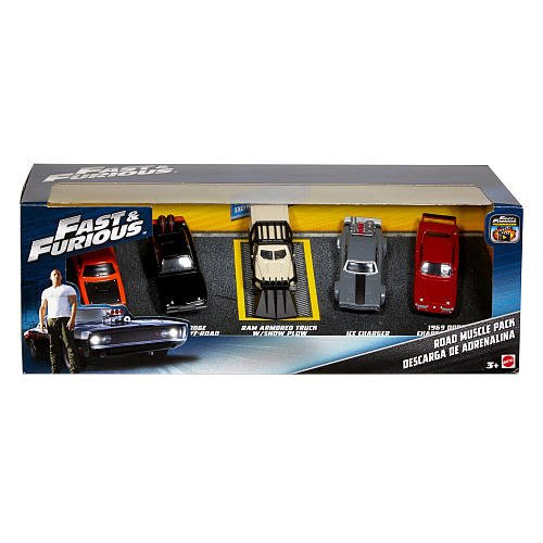 Fast & Furious Diecast Vehicle 5-Pack Assortment. Each authentic die-cast model boasts exciting colors and eye-catching design. Details and decos are stylish and true to the Fast & Furious franchise.
