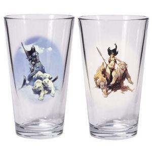 Frazetta Silver Warrior and The Huntress Pint Glass Set