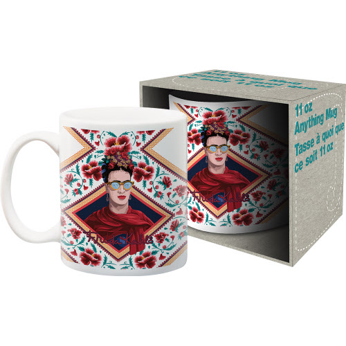 Frida Kahlo Red Triangle Portrait 11 Ounce Boxed Mug.