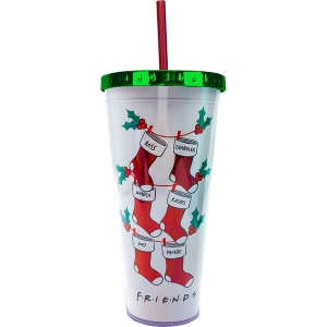 Friends Christmas Foil Cup with Straw