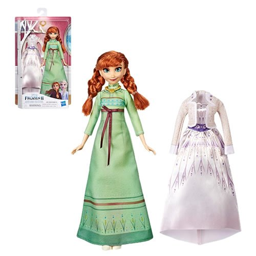 Frozen 2 Extra Fashion Anna Doll. She comes with 2 beautiful Frozen 2-inspired fashions to play out scenes from day or night and a removable pair of shoes.