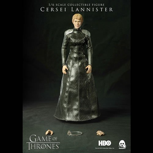 Game Of Thrones 1/6 Scale Cersei Lannister Regular Edition Action Figure. Standing about 11 Inches tall, Cersei features full articulation and a finely-detailed tailored cloth coronation gown including accurate patterns and textures!