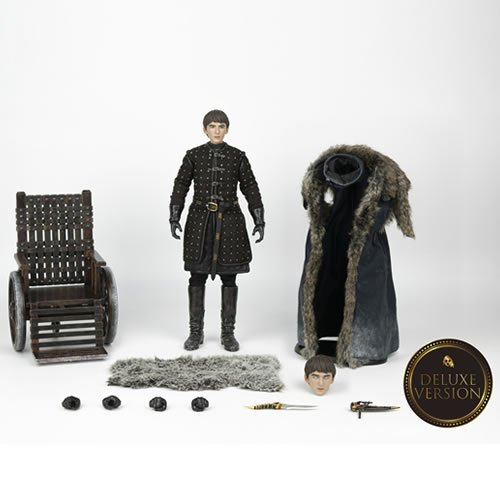 Game Of Thrones 1/6 Scale Bran Stark Deluxe Edition Action Figure. Bran stands about 11.5 Inches tall and features a highly-accurate realistic likeness to the character in the television series. Includes 3 sets of exchangable hands, Catspaw dagger with s