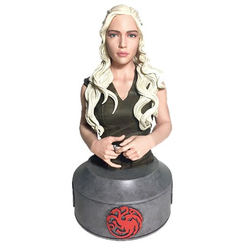 Game Of Thrones Daenerys Targaryen Mother Of Dragons Mini Bust. This 8 Inch tall limited edition polyresin bust is hand numbered, and comes with a certificate of authenticity. Daenerys Targaryen, Mother of Dragons has at long last made her journey across