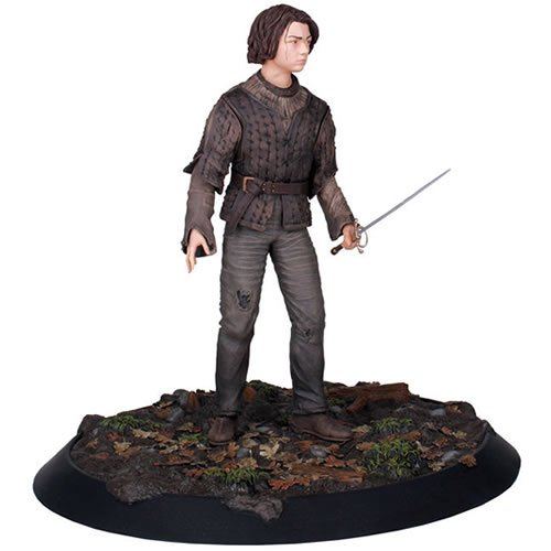 Game of Thrones Arya Stark Statue. The sister of Robb Stark, Arya is particularly close to her half brother Jon Snow. She is not interested in ladylike pursuits but instead studies swordcraft and combat skills, using her sword Needle.