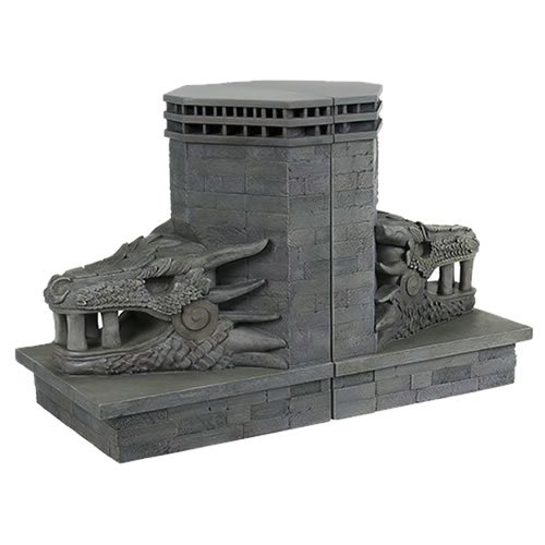 Game Of Thrones Dragonstone Gate Dragon Bookends. Bookends measure 7.5 inches tall. Daenerys Targaryen returns to her birthplace of Dragonstone, entering the castle doors through the massive and ominous Dragon Gates, to claim her rightful throne.