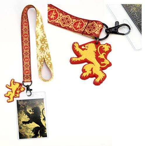 Game Of Thrones House Lannister Lanyard. Lanyard features a 17 Inch Strap and a 4.5 inch by 3 inch ID Holder.