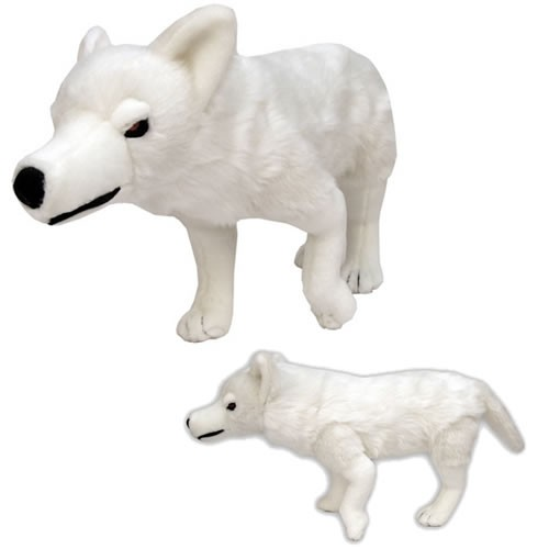 Game of Thrones Direwolf (Ghost) Plush.  A litter of direwolf cubs is discovered by the children of House Stark.  They adopt and raise them. The direwolves grow to become fearsome guardians and loyal companions.