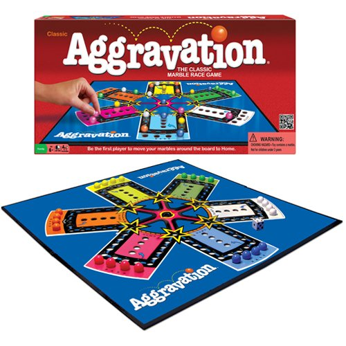 Aggravation Board Game. Two to six players compete in this classic race around the board from Base to Home. Take shortcuts to zip ahead. Or, try the super shortcut to shoot across the board.