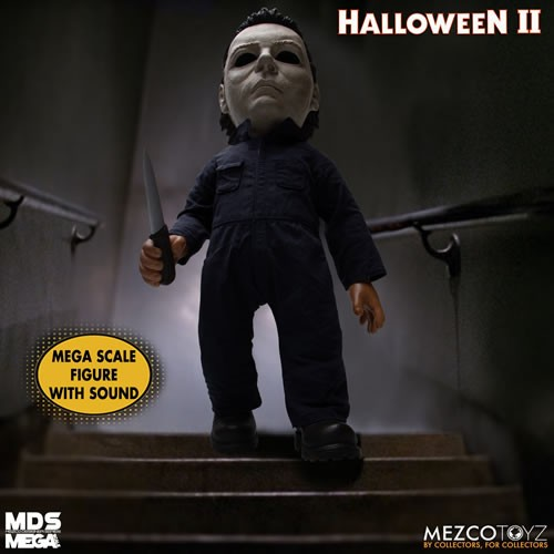 Halloween 2 15 Inch Mega Scale Michael Myers Talking Doll. Depress the button discretely hidden on his back to hear a total of 6 phrases.