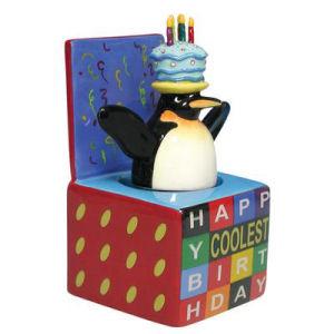 Westland Giftware Happy Birthday Penguin in a box Bobble figurine
