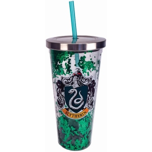 Harry Potter Slytherin Glitter Cup with Straw