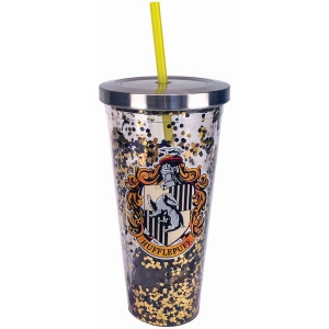 Harry Potter Hufflepuff Glitter Cup with Straw