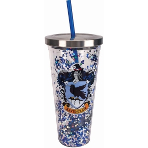 Harry Potter Ravenclaw Glitter Cup with Straw