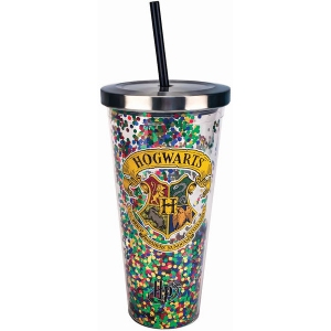 Harry Potter Hogwarts Glitter Cup with Straw